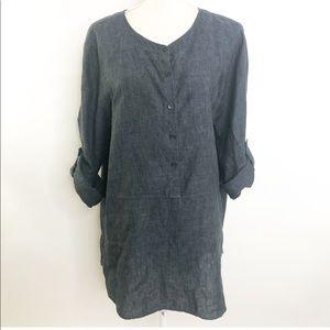 Eileen Fisher 100% Linen Lagenlook Tunic Blouse Lg